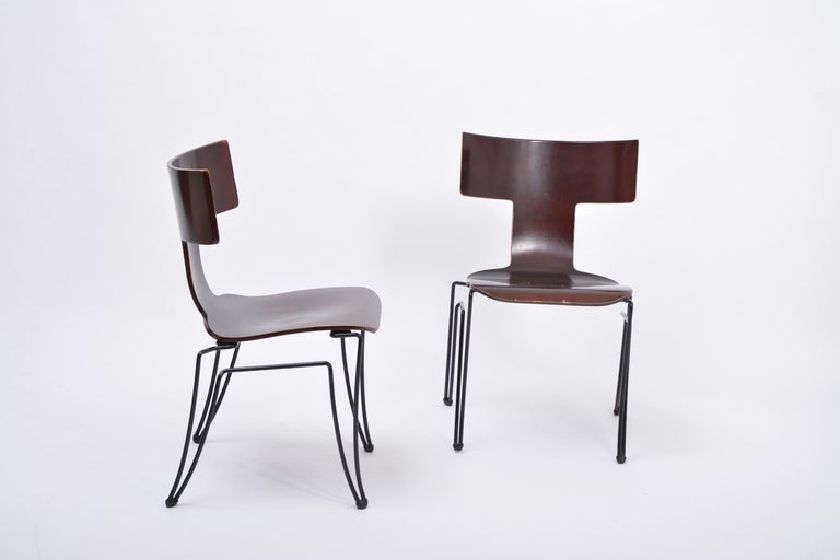 Late 20th Century Pair of Vintage Anziano Dining Chairs by John Hutton for Donghia For Sale