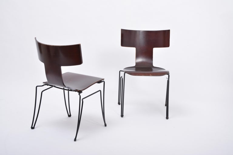 Steel Pair of Vintage Anziano Dining Chairs by John Hutton for Donghia For Sale