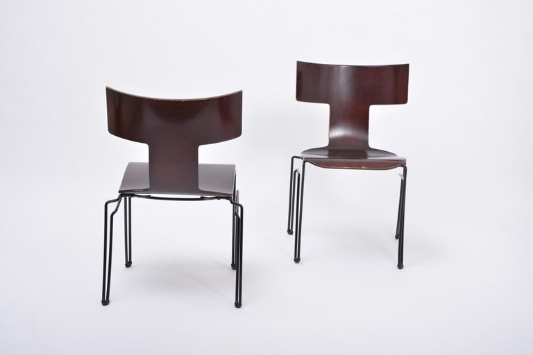 Pair of Vintage Anziano Dining Chairs by John Hutton for Donghia For Sale 1
