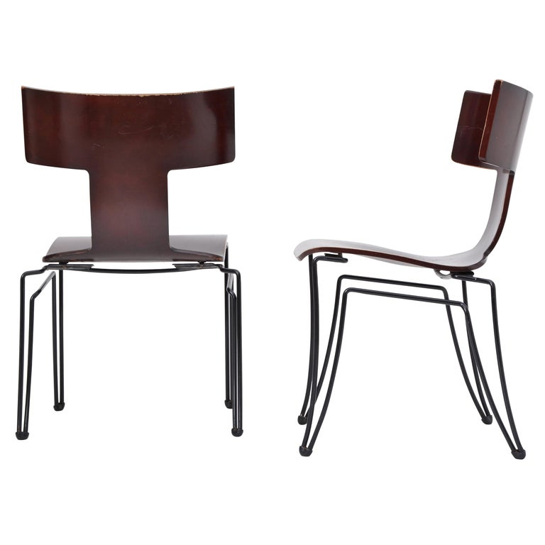 Pair of Vintage Anziano Dining Chairs by John Hutton for Donghia For Sale