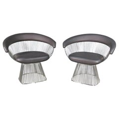 Pair of Vintage Arm Chairs in the Style of Warren Platner