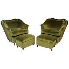 Pair of Vintage Armchairs and Footstools