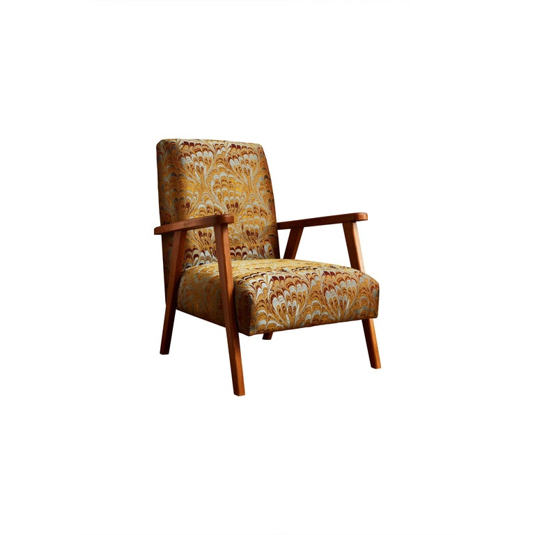 Pair of French vintage armchairs, restored and reupholstered with a
