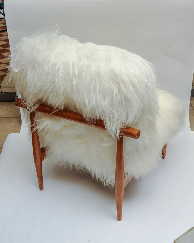 Goat Hair Pair of Vintage Armchairs For Sale
