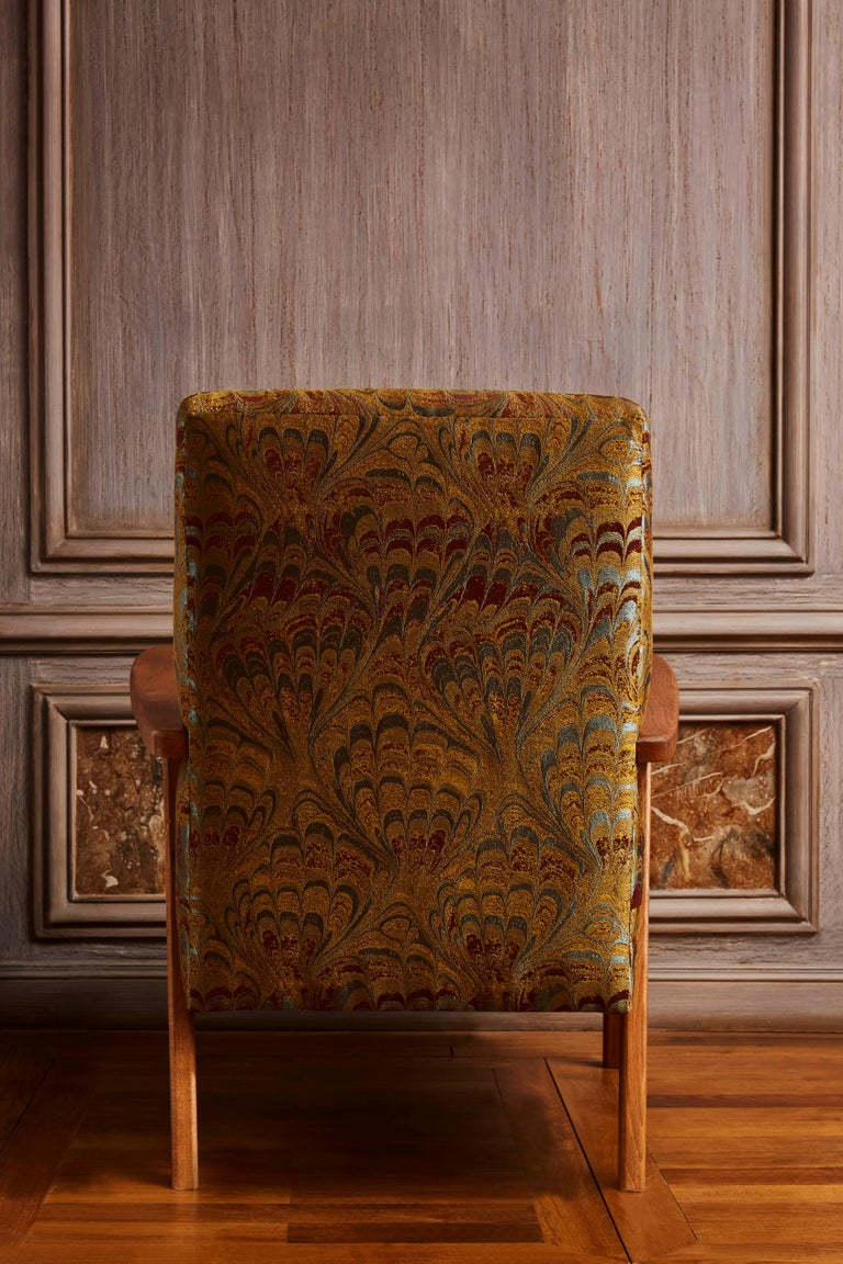 Fabric Pair of Vintage Armchairs For Sale