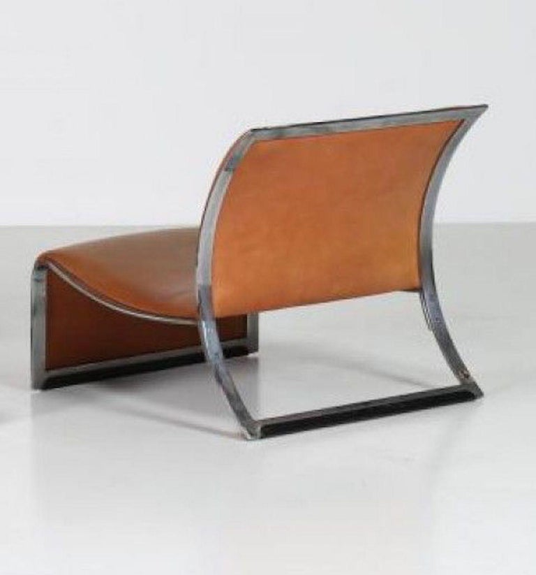 Italian Pair of Vintage Armchairs in Metal and Leather by Vittorio Introini, 1960s For Sale