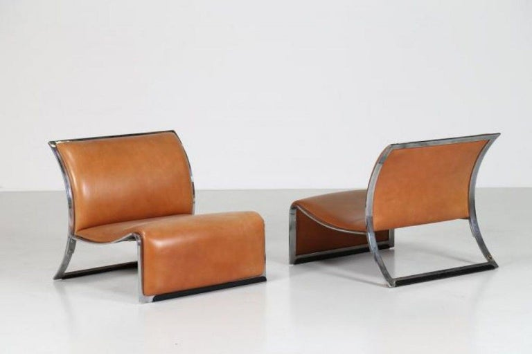 Polychromed Pair of Vintage Armchairs in Metal and Leather by Vittorio Introini, 1960s For Sale