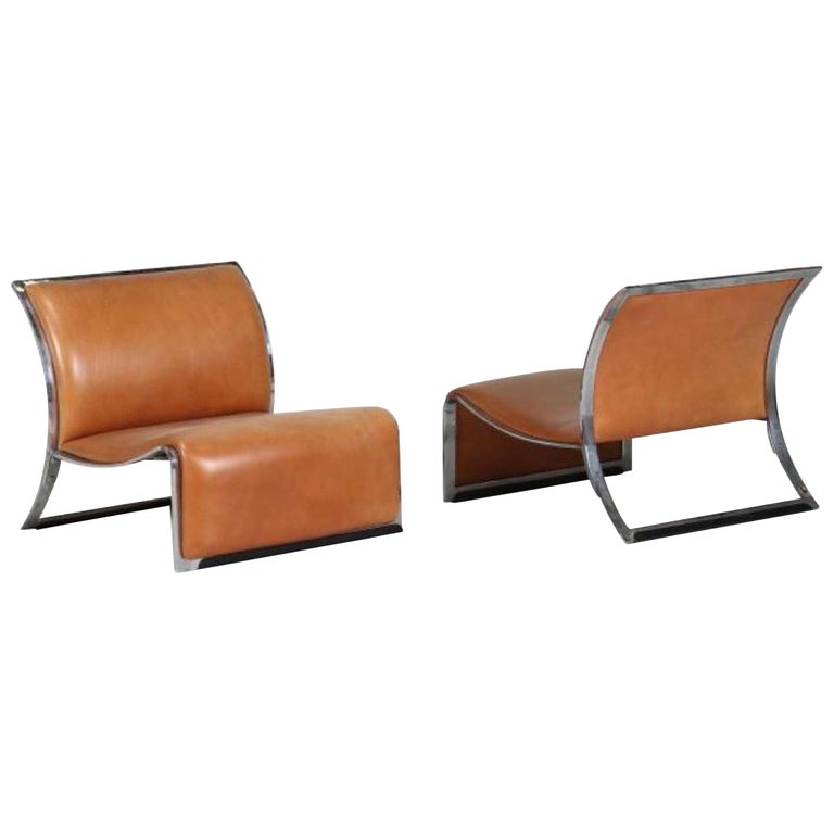 Pair of Vintage Armchairs in Metal and Leather by Vittorio Introini, 1960s For Sale