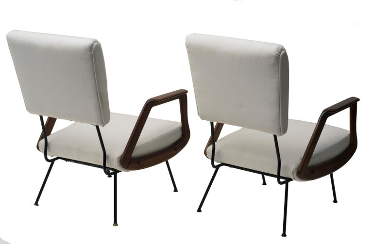 Brass Pair of Vintage Armchairs Italian Production, 1950 For Sale
