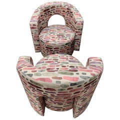Pair of Vintage Armchairs Newly Upholstered with Fantasy Cotton Fabric, 1970s