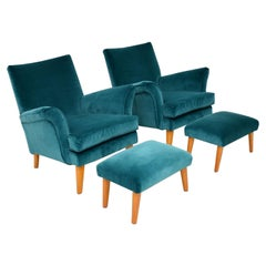 Pair of Vintage Armchairs and Ottomans, circa 1960s