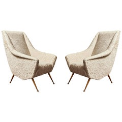 Pair of Vintage Armchairs with Loro Piana Fabric, 1970s