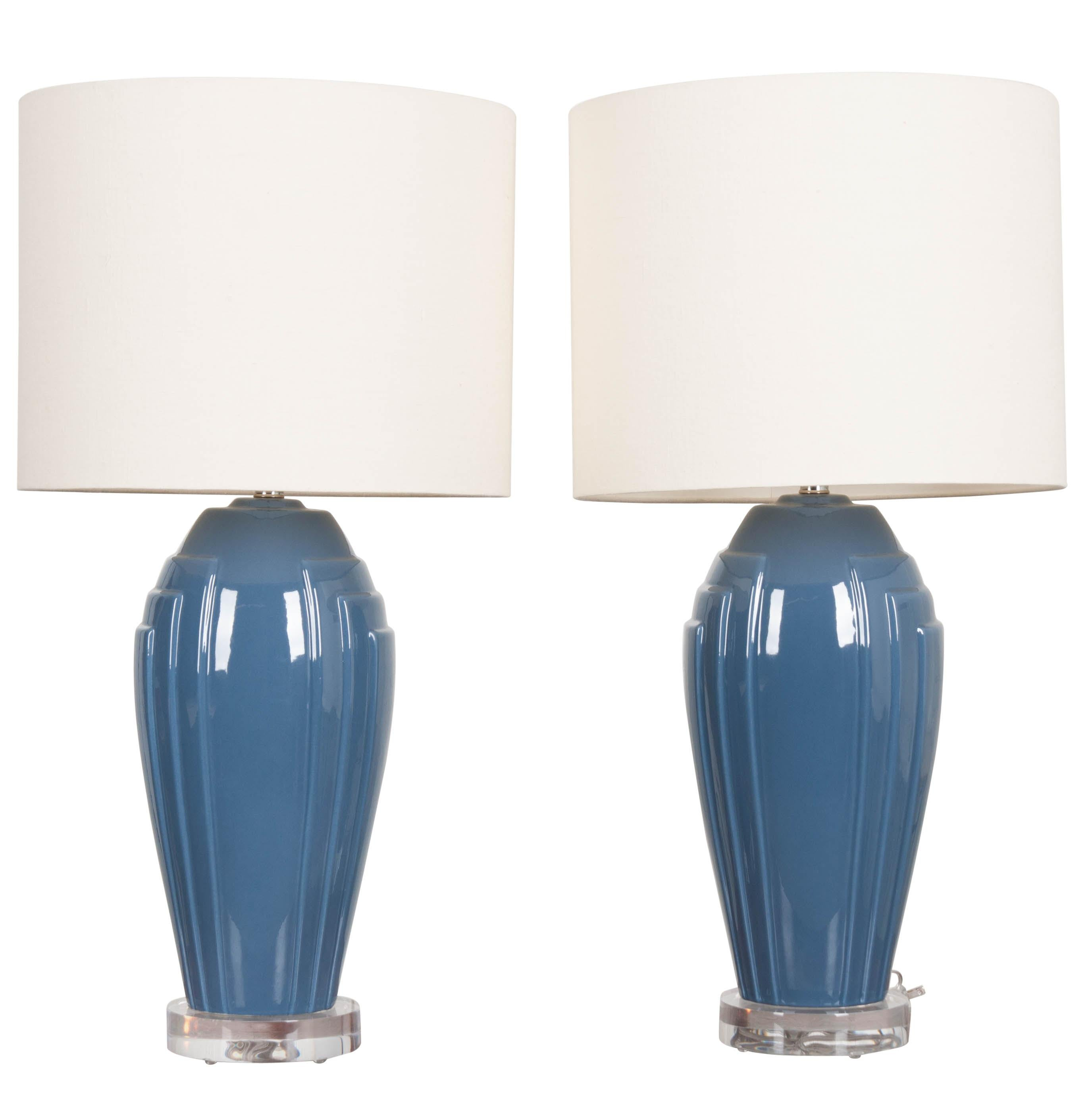 Pair of Vintage Art Deco Style Lamps with Shades