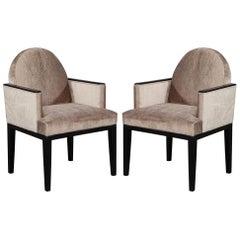 Pair of Vintage Art Deco Velvet Armchairs