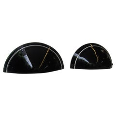 Pair of Vintage Artemide Black Glass Wall Sconce, Italy, 1970s
