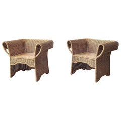 Pair of Vintage Arurog Wicker Chairs