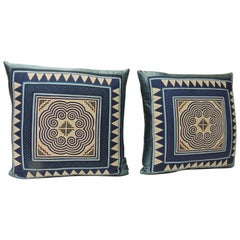 Pair of Vintage Asian Blue and Purple Applique Embroidered Square Pillows