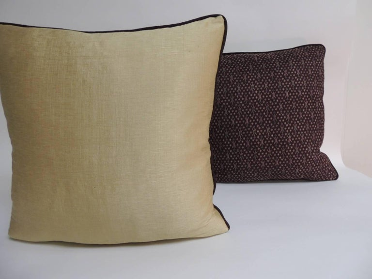 Hand-Crafted Pair of Vintage Asian Silk Brown and Gold Ikat Decorative Pillows For Sale