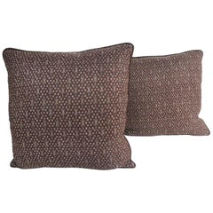 Pair of Vintage Asian Silk Brown and Gold Ikat Decorative Pillows