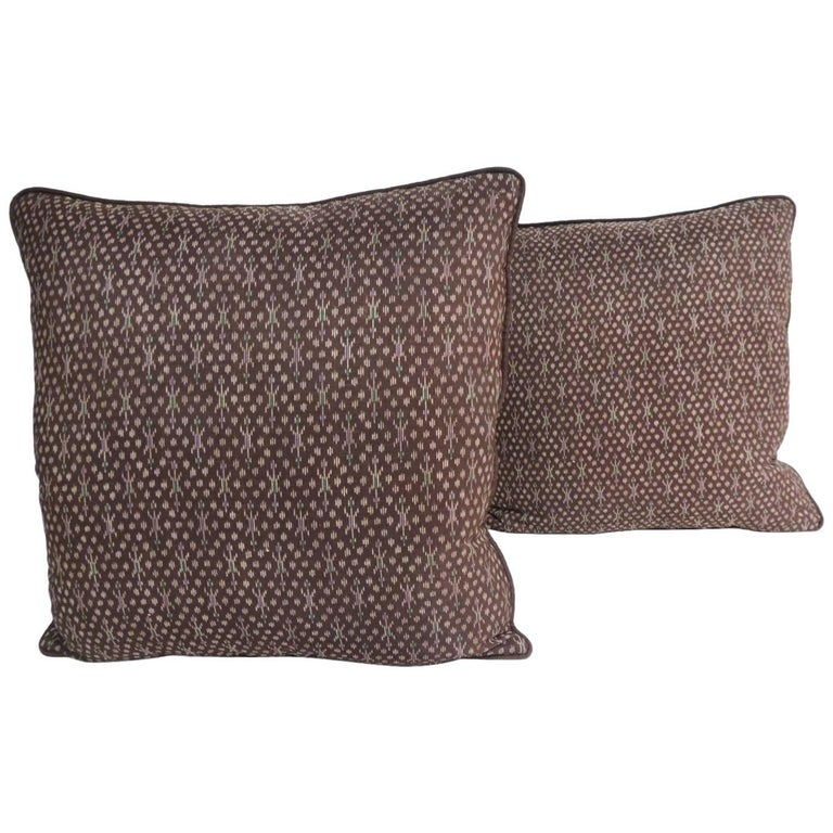 Pair of Vintage Asian Silk Brown and Gold Ikat Decorative Pillows For Sale