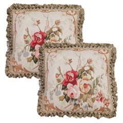 Pair of Vintage Aubusson Cushion Covers Handmade Floral Pillow Case