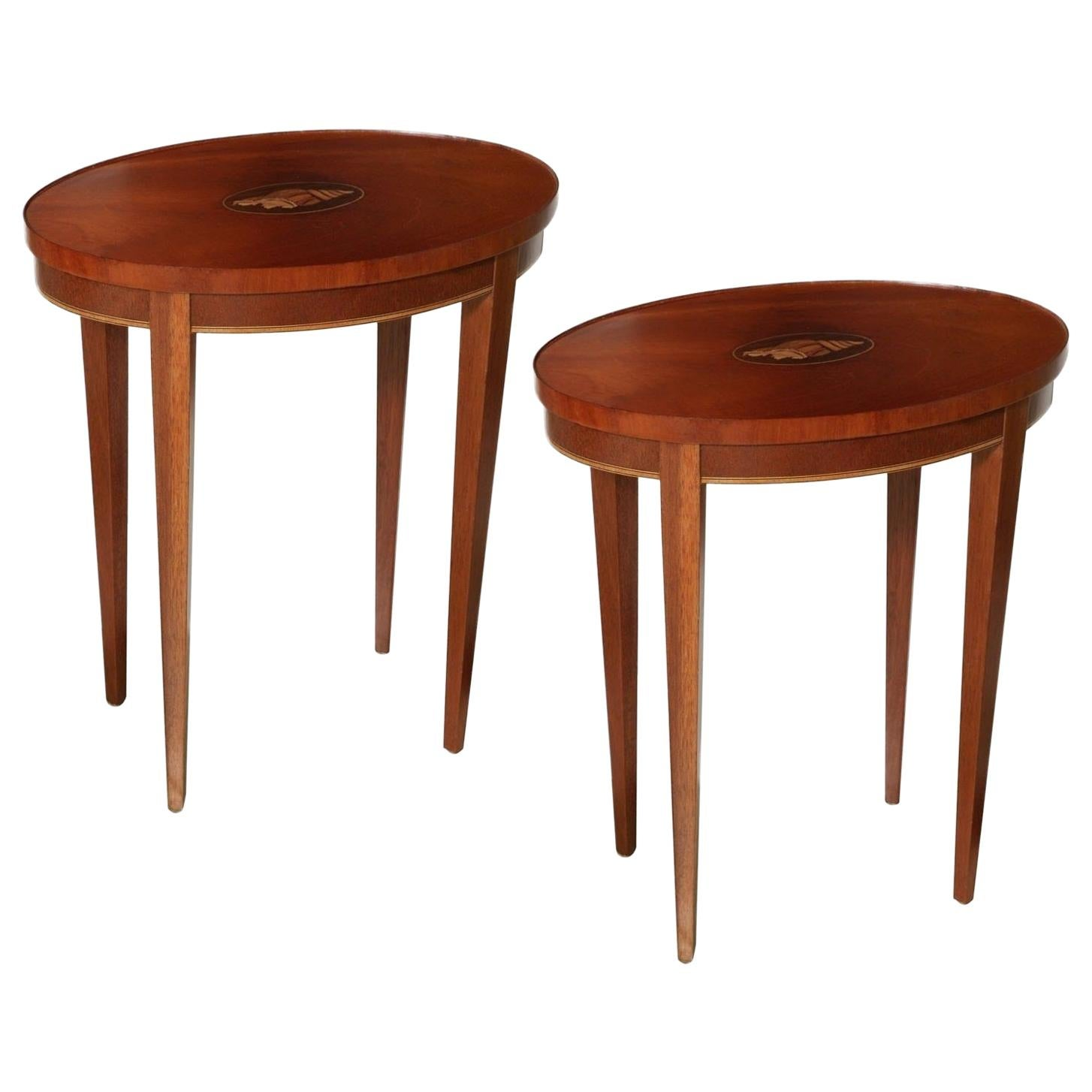 """21/"""" Round Table w Inlaid Brass Work Hand Carved Coffee Round Table Foldable New"""
