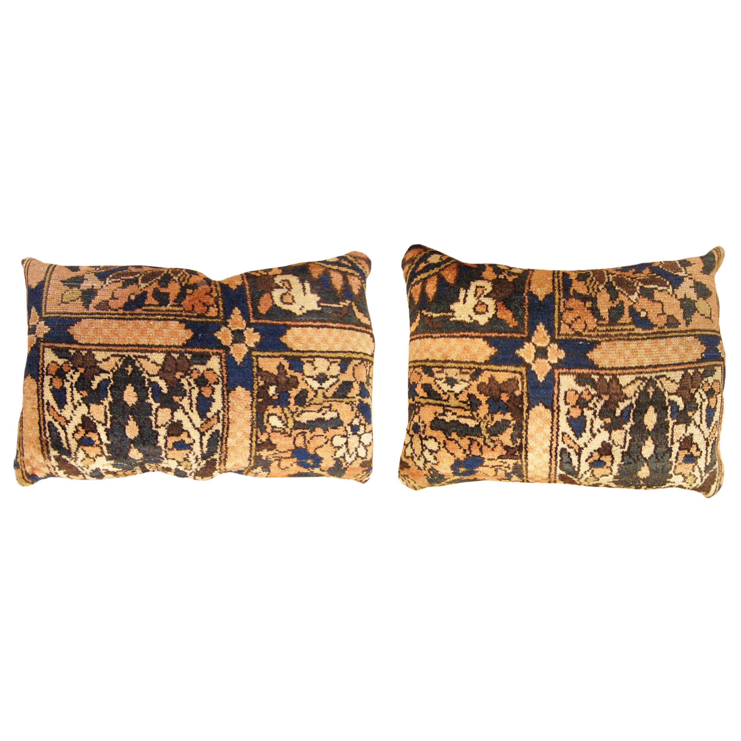 Pair of Vintage Persian Baktiari Decorative Oriental Rug Pillows