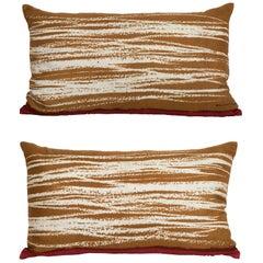 Pair of Vintage Balenciaga Silk Fabric and Irish Linen Cushions Pillows Maroon