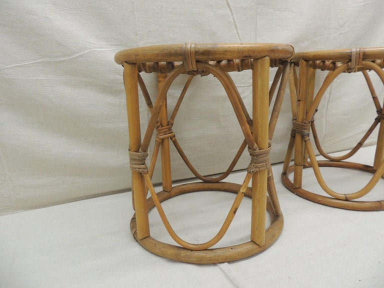Bohemian Pair of Vintage Bamboo and Rattan Round Stools or Side Tables For Sale