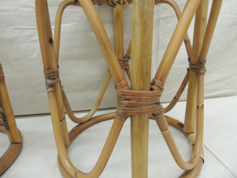 Asian Pair of Vintage Bamboo and Rattan Round Stools or Side Tables For Sale
