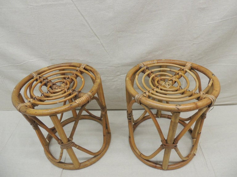 Hand-Crafted Pair of Vintage Bamboo and Rattan Round Stools or Side Tables For Sale