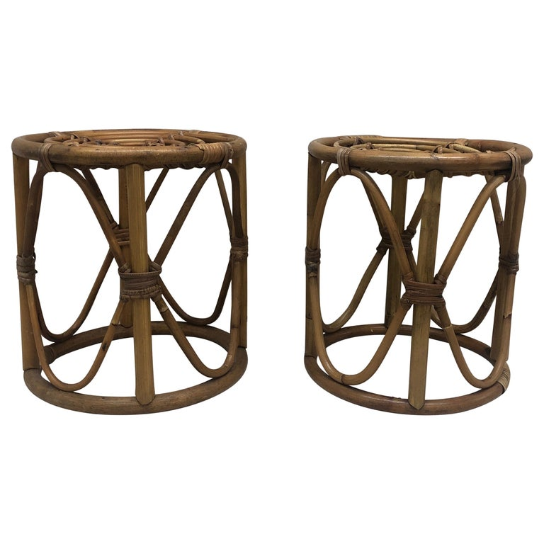 Pair of Vintage Bamboo and Rattan Round Stools or Side Tables For Sale