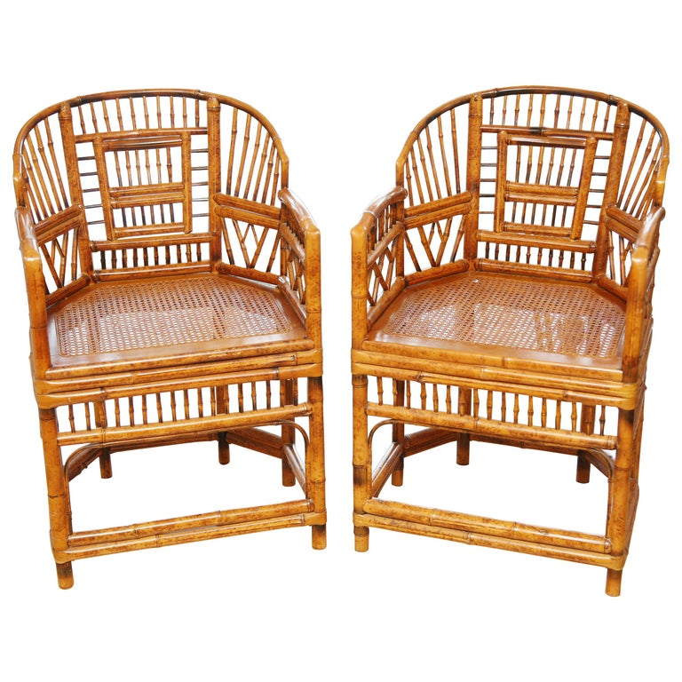 Pair of Vintage Bamboo Brighton Pavilion Armchairs  For Sale