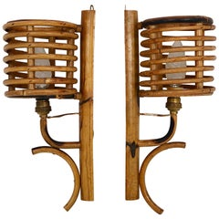 Pair of Vintage Bamboo Sconces, Italy, 1950s