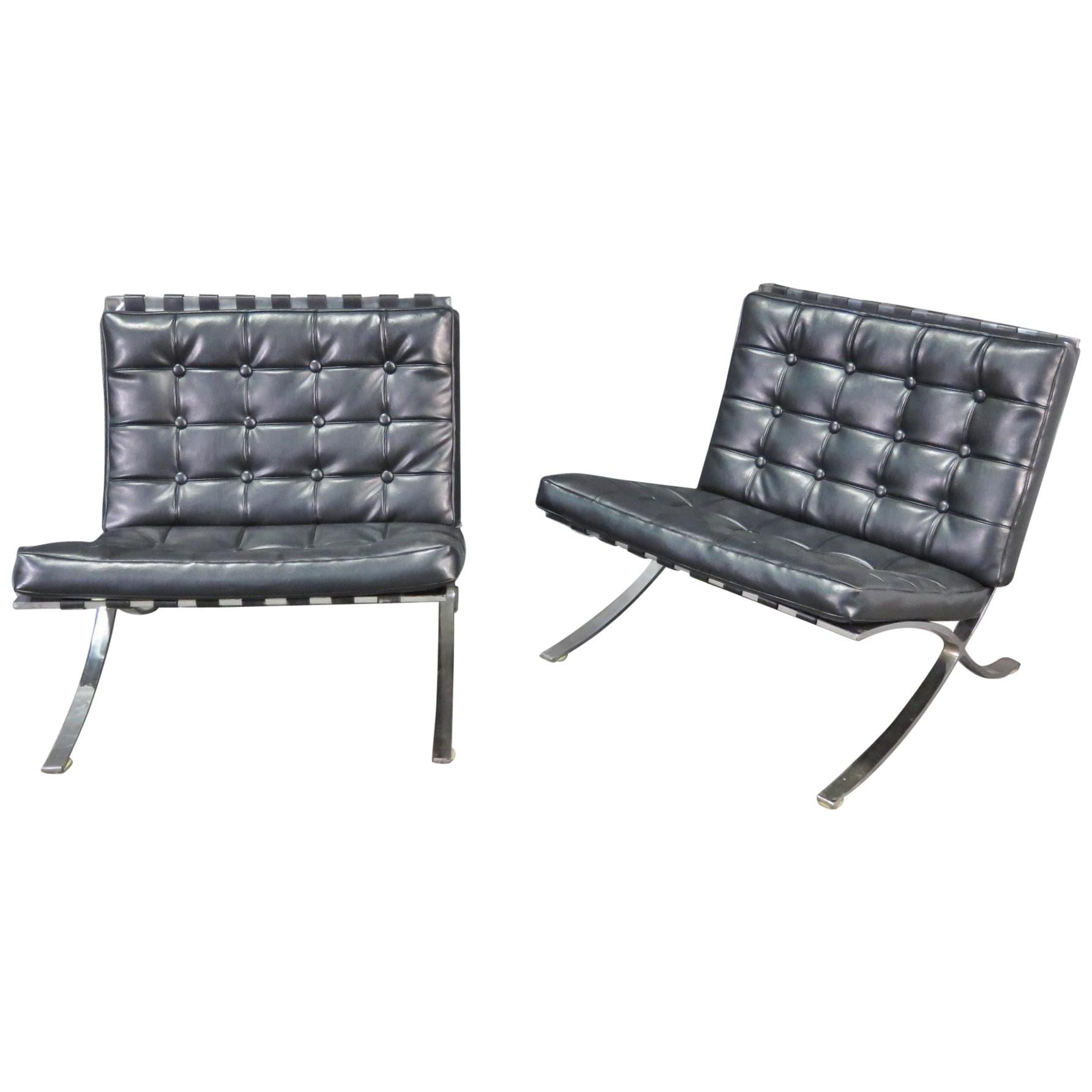 Pair of Vintage Barcelona Style Chairs