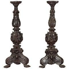 Pair of Vintage Baroque Style Cast Bronze Candlesticks with Cherub Figures