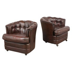 Pair of Vintage Barrel Back Leather Chairs