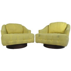 Pair of Vintage Barrel Back Swivel Lounge Chairs