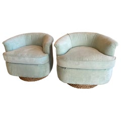 Pair of Vintage Barrel Swivel Chairs Upholstered Seafoam Green Seagrass Base