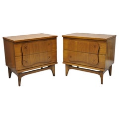 Pair of Vintage Bassett Mid-Century Modern Star Inlay Walnut Nightstands Tables