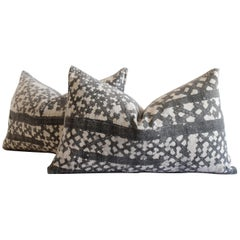 Pair of Vintage Batik Accent Pillow Charcoal and Natural Linen