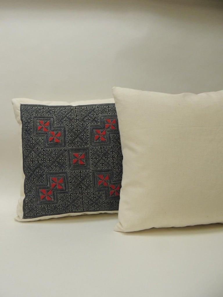 Tribal Pair of Vintage Batik Asian Hand Blocked Red & Indigo Square Decorative Pillows For Sale