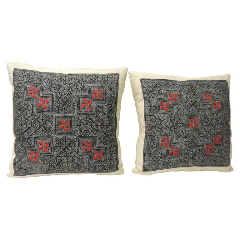 Thai Pair of Vintage Batik Asian Hand Blocked Red & Indigo Square Decorative Pillows For Sale