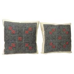 Pair of Vintage Batik Asian Hand Blocked Red & Indigo Square Decorative Pillows
