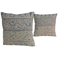 Pair of Vintage Batik Blue and White Square Decorative Pillows