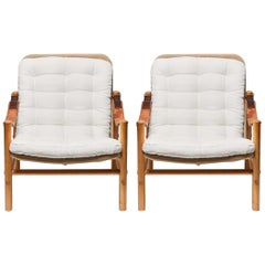 Pair of Vintage Beechwood Campaign Chairs by Bror Boije for DUX