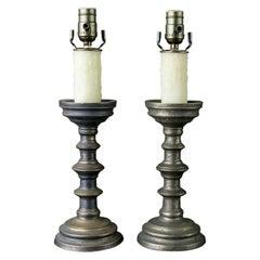 Pair of Vintage Belgian Pewter Candlestick Lamp