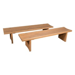 Pair of Vintage Benches, English, Oak, Kitchen, Museum, Pew, Late 20th Century