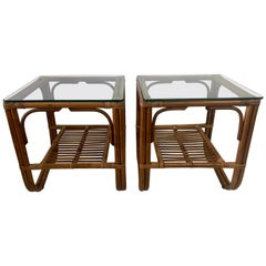 Pair of Vintage Bent Bamboo Side-Tables or End-Tables