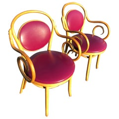 Pair of Vintage Bentwood Thonet Style Chairs in Violet